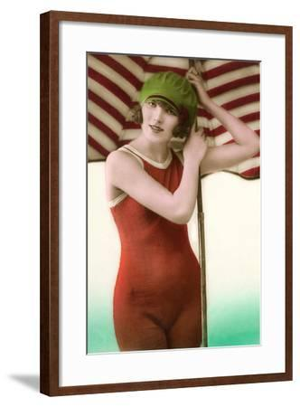 Woman in Old Fashioned Bathing Costume--Framed Art Print