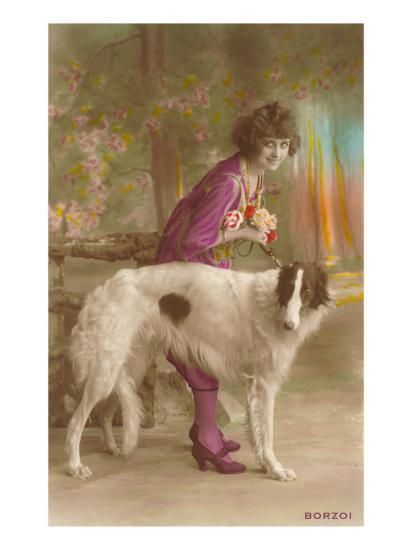 Woman in Purple with Borzoi--Art Print