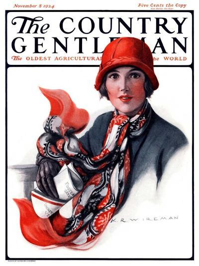 """""""Woman in Red Cloche and Scarf,"""" Country Gentleman Cover, November 8, 1924-Katherine R^ Wireman-Giclee Print"""