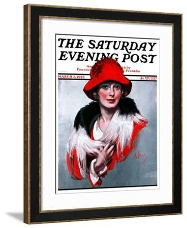 """""""Woman in Red Hat,"""" Saturday Evening Post Cover, March 3, 1923-Neysa Mcmein-Framed Giclee Print"""