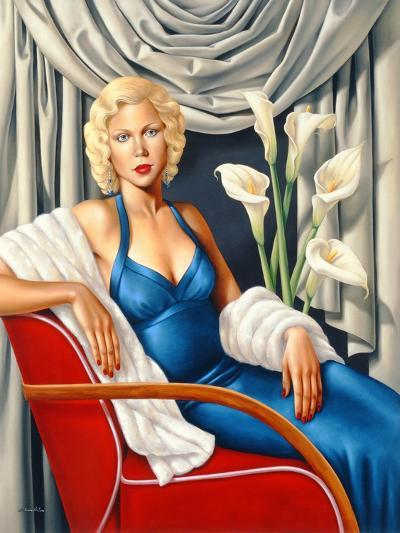Woman in Sapphire Blue Dress-Catherine Abel-Giclee Print