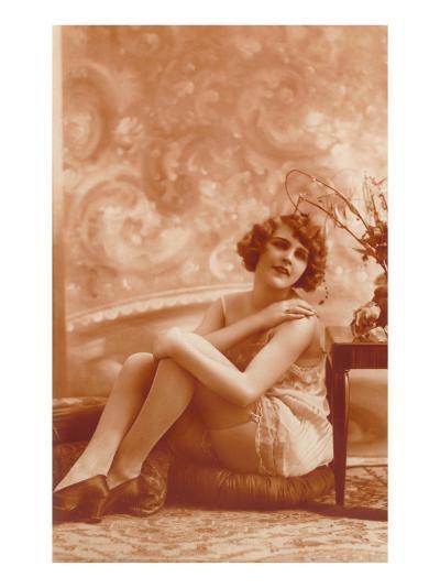 Woman in Slip with Swirly Wallpaper--Art Print