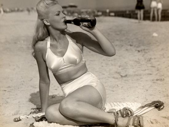 Woman in Swimsuit Having a Soda-George Marks-Photographic Print