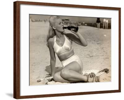 Woman in Swimsuit Having a Soda-George Marks-Framed Photographic Print