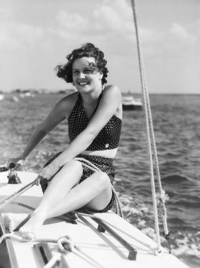 Woman in Swimsuit, on Sailing Boat, Holding Rope, Smiling-H^ Armstrong Roberts-Photographic Print