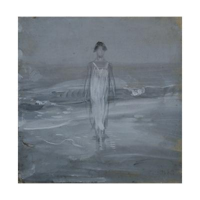 Woman in White Dress Walking at Water's Edge by the Sea-Francesco Paolo Michetti-Giclee Print