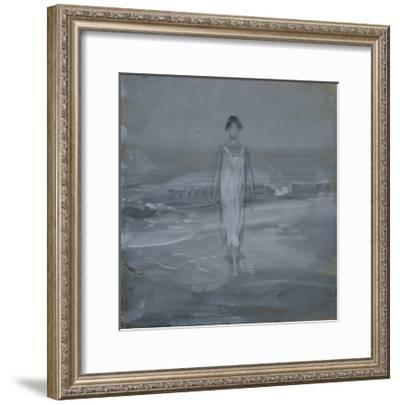 Woman in White Dress Walking at Water's Edge by the Sea-Francesco Paolo Michetti-Framed Giclee Print