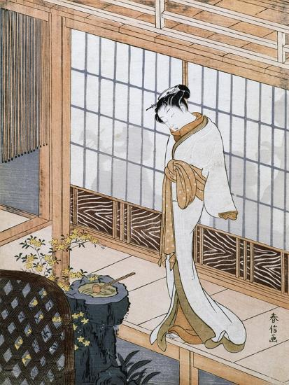 Woman in Winter Coat-Suzuki Harunobu-Giclee Print