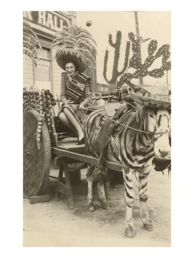 Woman in Zebra Cart, Tijuana, Mexico--Art Print