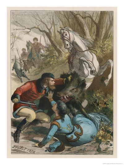 Woman is Rescued from a Wild Boar During a Hunting Expedition-D. Eusebio Planas-Giclee Print