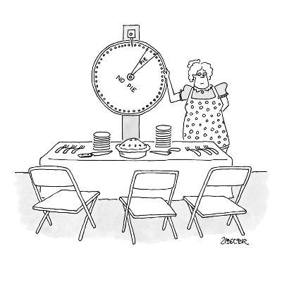 "Woman is spinning a wheel which offers mainly ""no pie"". - New Yorker Cartoon-Jack Ziegler-Premium Giclee Print"