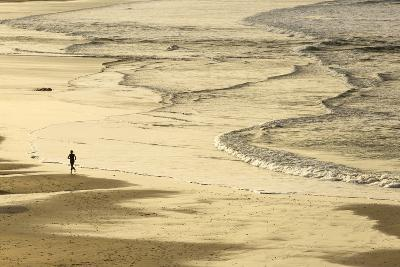 Woman Jogging at Sunrise on Gwithian Beach, Cornwall, England, United Kingdom-Mark Chivers-Photographic Print