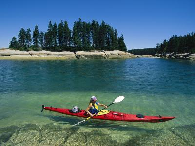 Woman Kayaks Through the Clear Water of Penobscot Bay, Maine-Skip Brown-Photographic Print
