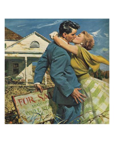 Woman Kissing Man, 1955--Giclee Print