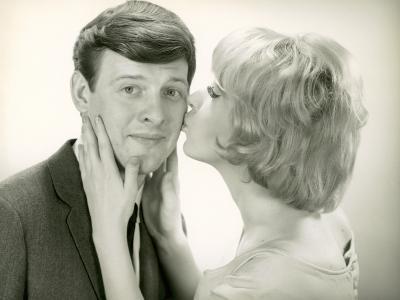 Woman Kissing Man on Cheek-George Marks-Photographic Print