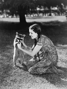 Woman Kneeling on the Lawn Playing with a Tame Raccoon