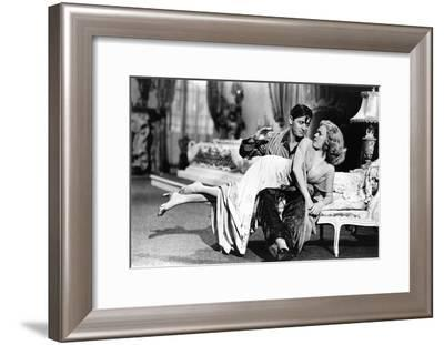 Woman Laid on the Kneel of a Man Have Her Bottom Smacked, 40'S--Framed Photo