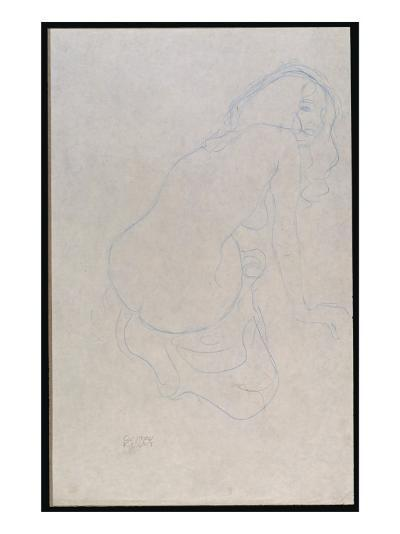 Woman Leaning to the Right with Long Hair, C.1910-11-Gustav Klimt-Giclee Print