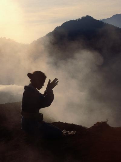 Woman Leaving an Offering on Mt. Batur, Batur, Bali, Indonesia-Margie Politzer-Photographic Print
