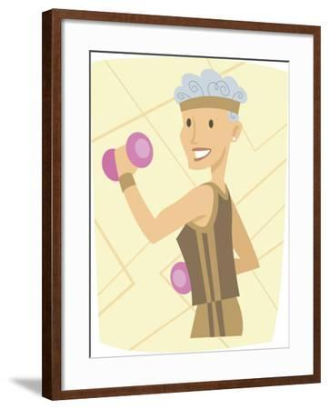Woman Lifting Weights--Framed Photo