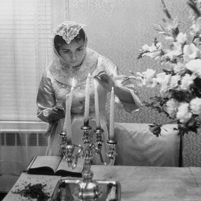 Woman Lighting Candles During Hasidic Jewish Wedding Ceremony-Yale Joel-Photographic Print