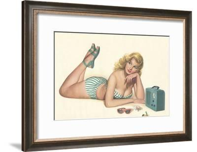 Woman Listening to Radio--Framed Art Print
