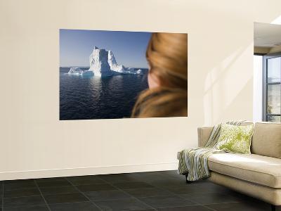 Woman Looking at Iceberg from Ilulissat Kangerlua Icefjord-Holger Leue-Wall Mural