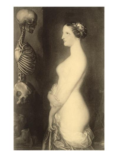 Woman Looking at Skeleton--Art Print