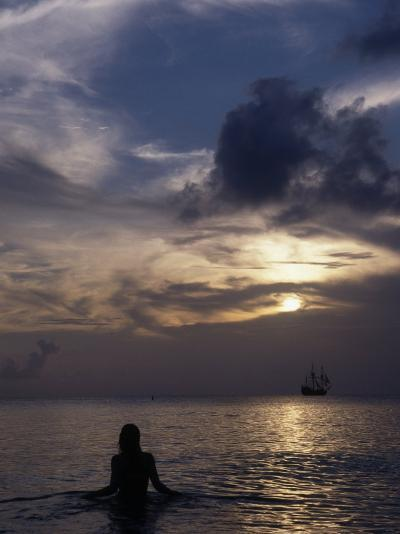 Woman Looking at Tall Ship, Cayman Islands-Bruce Clarke-Photographic Print