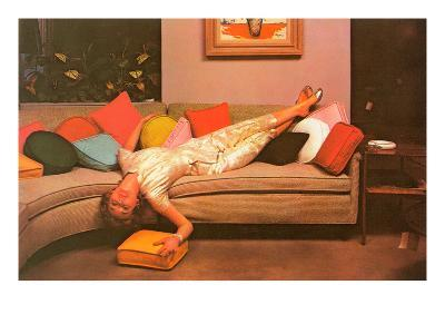 Woman Lounging on Couch, Retro--Art Print