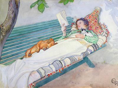 Woman Lying on a Bench, 1913-Carl Larsson-Giclee Print