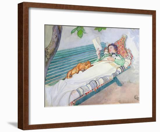 Woman Lying on a Bench, 1913-Carl Larsson-Framed Giclee Print