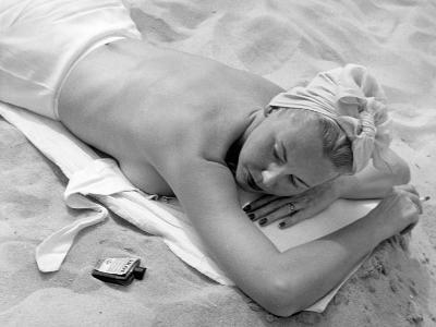 Woman Lying on Beach Topless-George Marks-Photographic Print