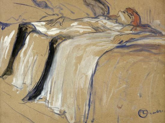 "Woman Lying on Her Back - Lassitude, Study for ""Elles"", 1896-Henri de Toulouse-Lautrec-Giclee Print"