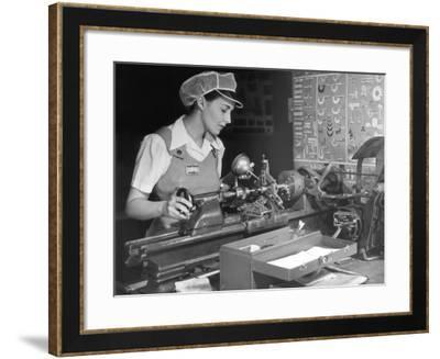 Woman Machinist at Work-George Marks-Framed Photographic Print