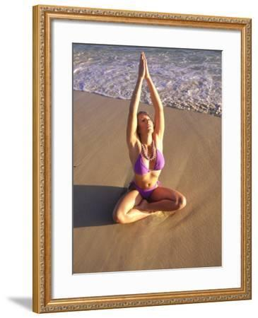 Woman Meditating on Beach-Tomas del Amo-Framed Photographic Print