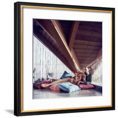 Woman Model Lounging on Pillows in Cabana Wearing Bikini Swimsuit Fashion. Cuba 1956-Gordon Parks-Framed Premium Photographic Print