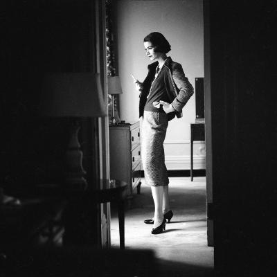 Woman Model Wearing Latest Spring Fashion. Tweed Suit with Pearl Necklace, New York, 1957-Gordon Parks-Photographic Print