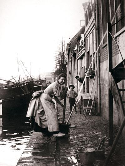 Woman Mopping the Street, Dordrecht, Netherlands, 1898-James Batkin-Photographic Print