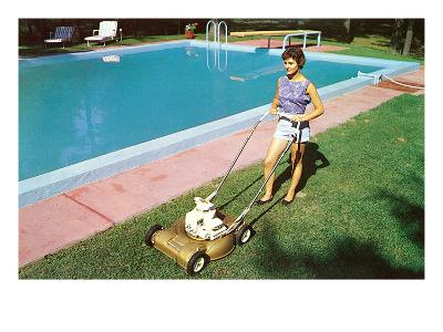Woman Mowing Lawn by Pool, Retro--Art Print
