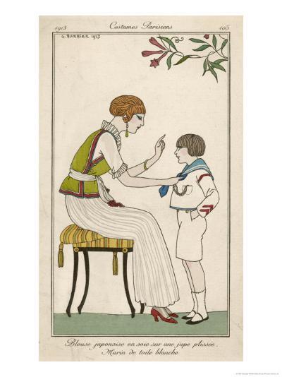 Woman: Narrow Pleated Skirt, Japonaise Silk Blouse, Short Sleevless Tunic and Sash-Georges Barbier-Giclee Print
