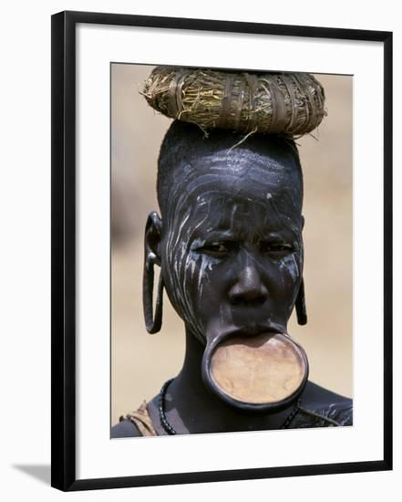 Woman of the Mursi Tribe, Her Clay Lip Plate Shows That She Is Married, Ethiopia-John Warburton-lee-Framed Photographic Print