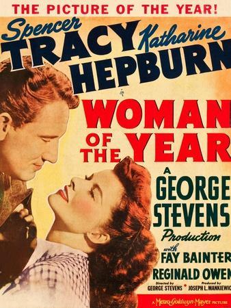 Woman of the Year, Spencer Tracy, Katharine Hepburn on window card, 1942--Art Print