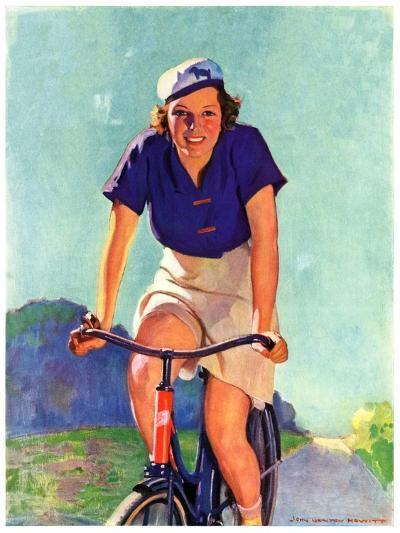 """Woman on a Bike,""April 28, 1934-John Newton Howitt-Giclee Print"