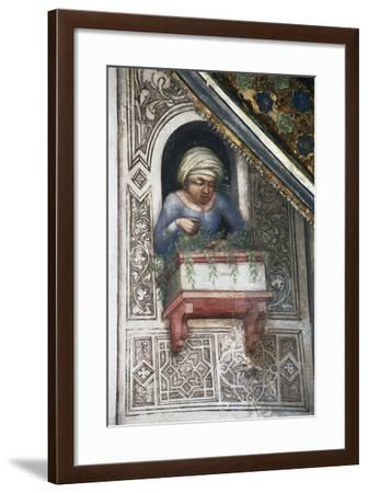 Woman on Balcony, Detail from Fresco Cycle Stories of the Virgin-Ottaviano Nelli-Framed Giclee Print
