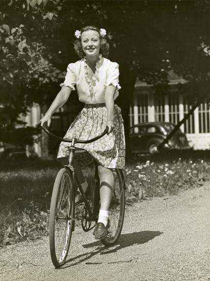 Woman on Bike-George Marks-Photographic Print