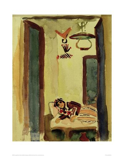 Woman on Daybed-Auguste Macke-Giclee Print