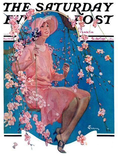 """""""Woman on Floral Swing,"""" Saturday Evening Post Cover, May 19, 1928-Elbert Mcgran Jackson-Giclee Print"""