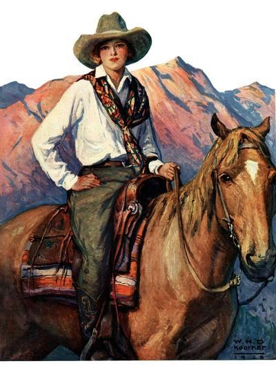 """""""Woman on Horse in Mountains,""""October 6, 1928-William Henry Dethlef Koerner-Giclee Print"""