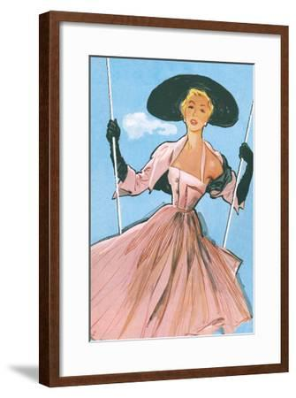 Woman on Swing--Framed Giclee Print
